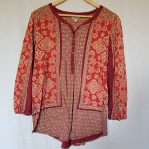LUCKY BRAND BOHO PRINTED 3/4 SLEEVE TOP SIZE LARGE